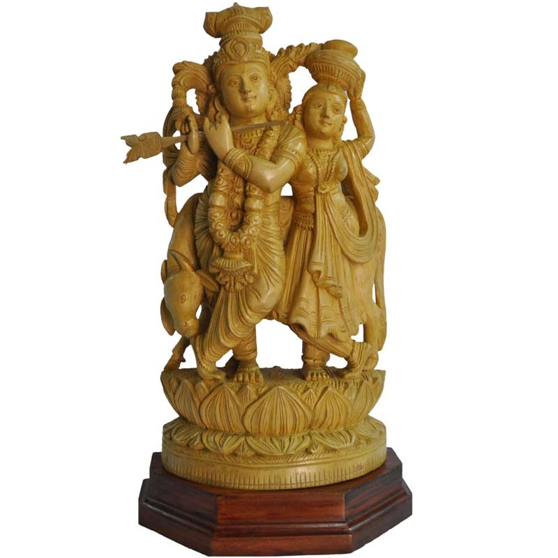 Radha Krishna With Cow wooden Statue