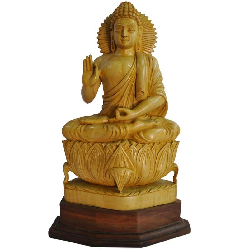 Meditating Buddha Wooden Statue