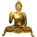 Buddha Blessing Coral Stone Brass Idol