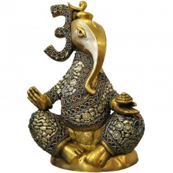 Fancy Ganesha Silver Stone Brass Idol