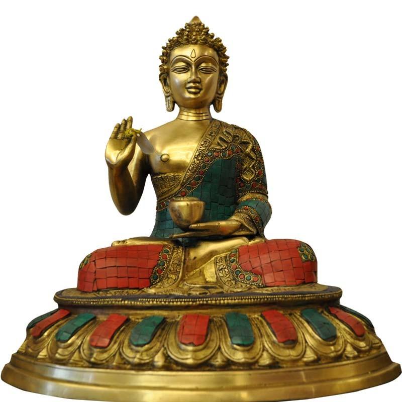 Ashirvad Buddha Coral Stone Brass Idol