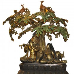Radha Krishna Coral Stone Brass Idol