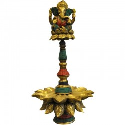 Coral Stone Deepa with Ganesha Brass
