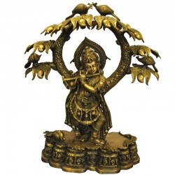 Krishna Under The Tree Coral Stone Brass Idol