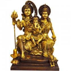 Ganesha With Shiva Parvathi Brass Idol