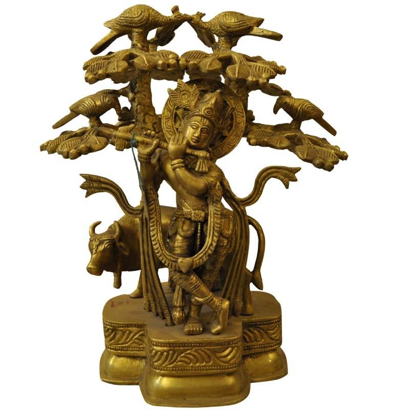 Krishna With Cow Under The Tree Brass Idol