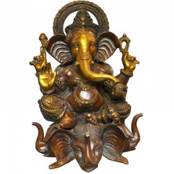 Ganesha Seated On Four Headed Elephant Brass Idol
