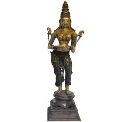 Lady Holding Deepa Brass Statue