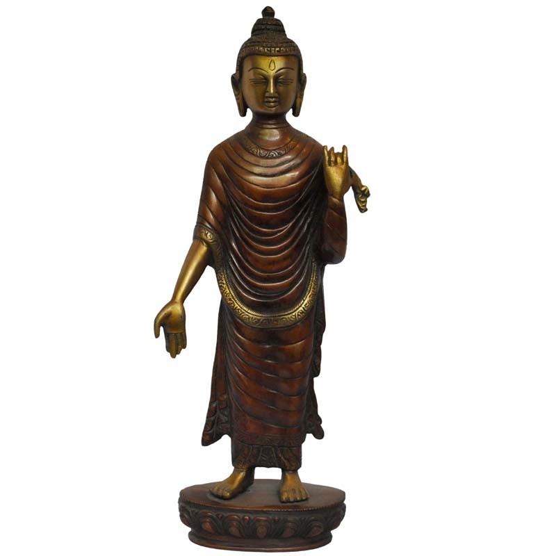 Standing Buddha Brass Idol