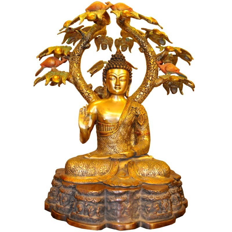 Buddha Under The Tree In Multi Color Brass Idol