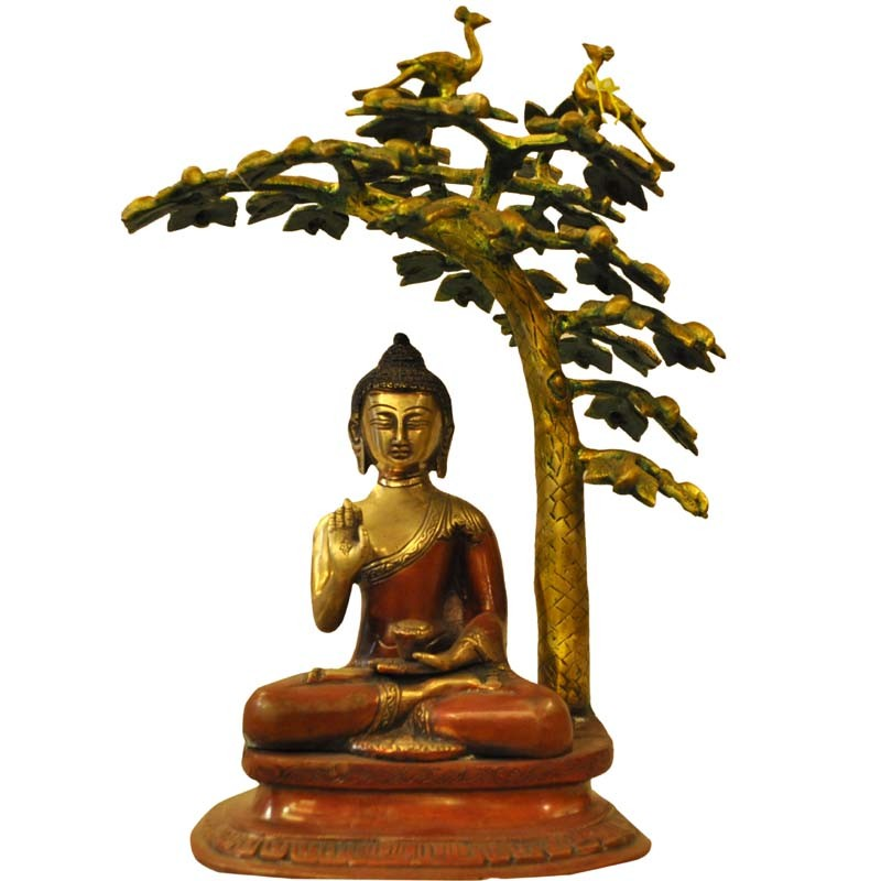 Ashirvad Buddha Under The Tree Brass Idol
