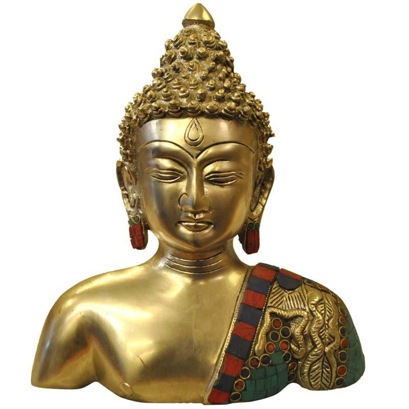 Buddha Bust Brass Idol