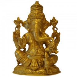 Lord Ganesha brass statue with Mouse