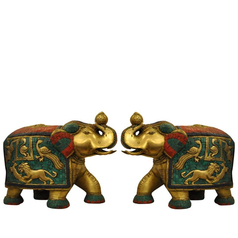 Elephant Pair Brass Statue