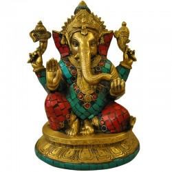 Lord Ganesha In Multi Color Brass Idol