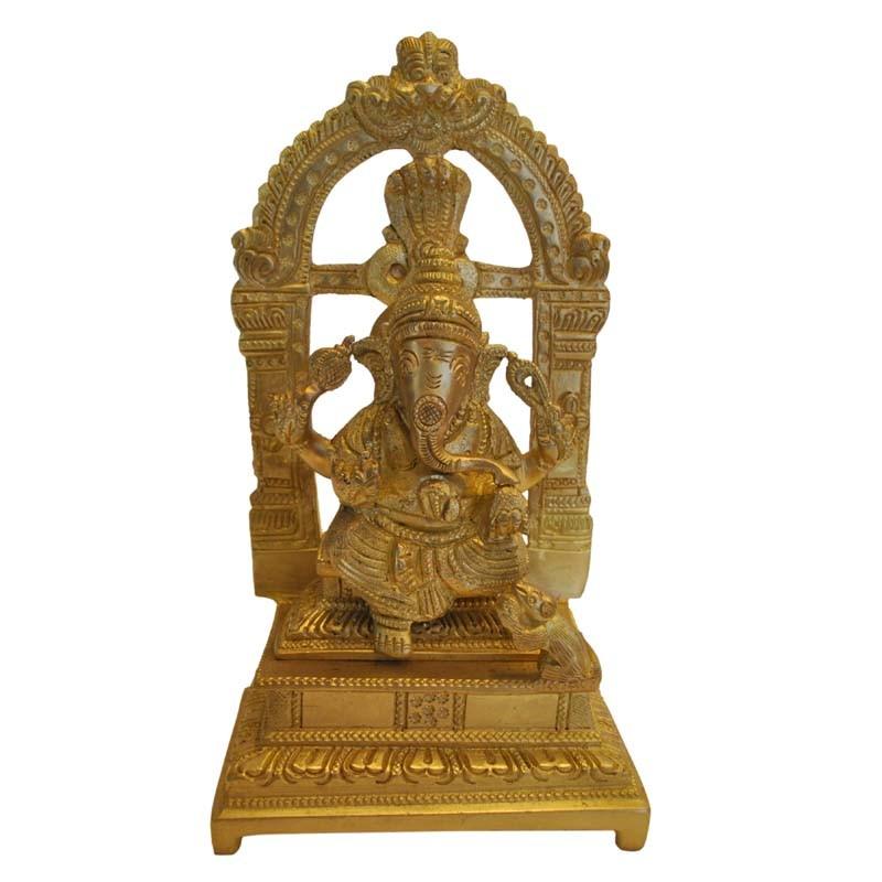 Peeta Ganesha Brass Statue