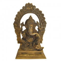 Blessing Ganesha with Mouse Brass Statue