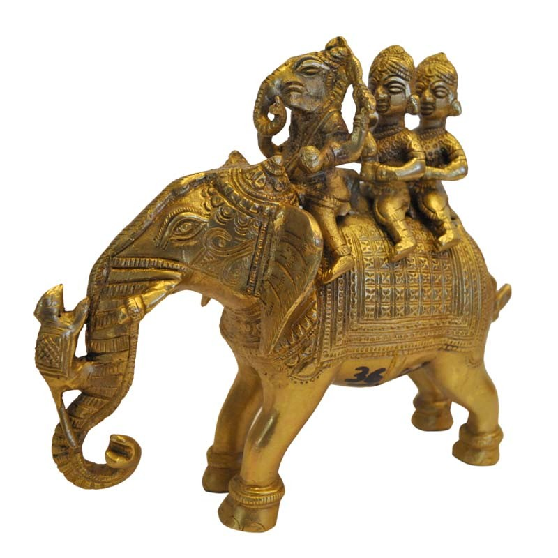 Ganesha With Sidhi & Budhi Sitting on Elephant Brass Statue