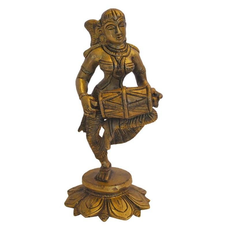 Dancing Lady with Dholak Brass Statue
