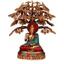 Coral Buddha Under Tree Brass