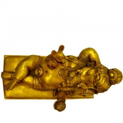 Relaxing Ganesha with mouse Brass Idol