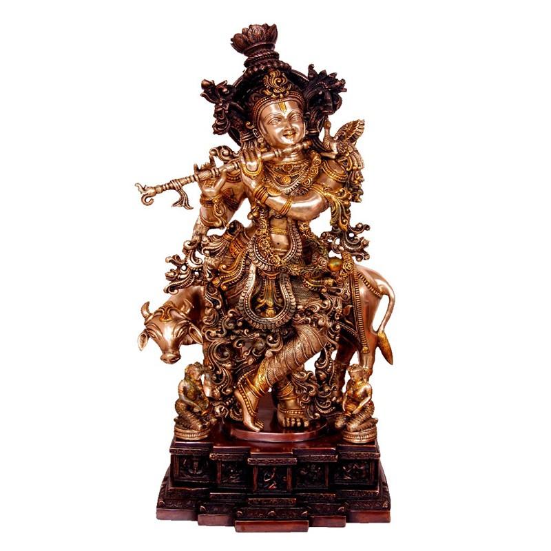 Brass Finished Krishna