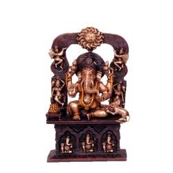 Multi Tone Ganesha with Prabhavali Having Sun Face