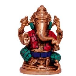 Coral Ganeesha Brass Idol