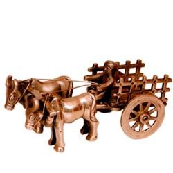 Bull Lock Cart Brass Statue