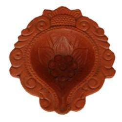 Designed Ceramic Red Diya