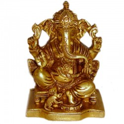 Lord Ganesha with Mouse Brass Idol