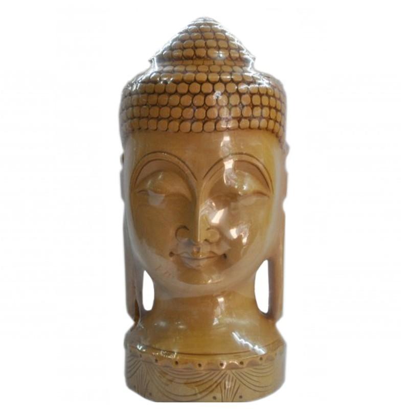 Wooden Buddha Bust Statue
