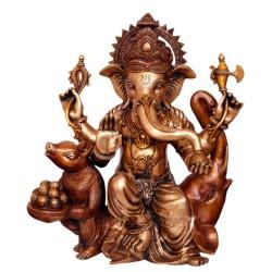 Blessing Ganesha with Mouse & Elephant