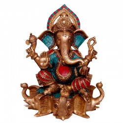 Coral Ganesha Sitting & Blessing