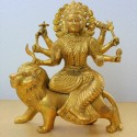Charming Durga Devi on lion blessing brass Idol