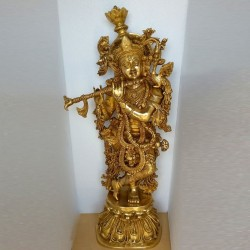 Extremely Magnificent Krishna brass Idol