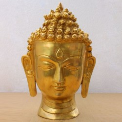 Brass Buddha face in peace idol for home decor