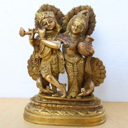Fanciable Radha Krishna with cute peackock design