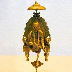 Sai Baba Sitting On Peeta Brass Statue