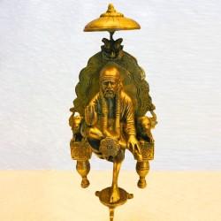 Sai Baba Sitting On Peeta Brass Statue