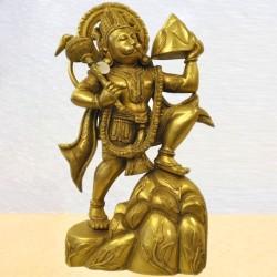 Hanuman Holding Moutain Brass Statue