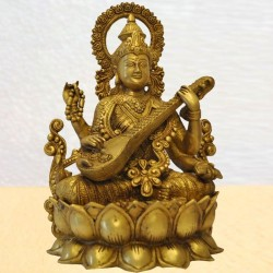 Saraswathi on Lotus / Kamala Brass Statue