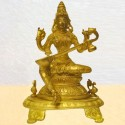Saraswati Sitting on Peeta Brass Idol