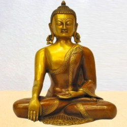 Dhyana Buddha in Double Colour Brass Statue