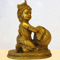 Baby Lord Krishna Eating Butter Brass Statue