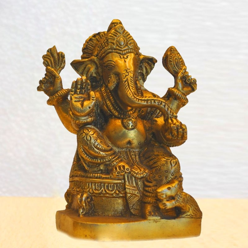 Lord Ganesha Blessing Brass Idol