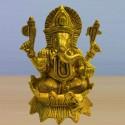 Blessing Ganesha on Lotus flower brass statue