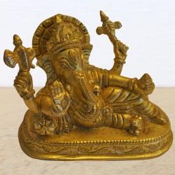 Sleeping Ganesha Brass Statue