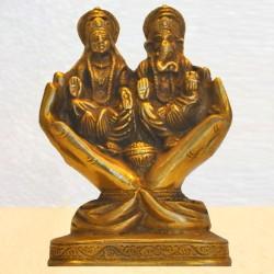 Lakshmi & Ganesha Sitting on Palm