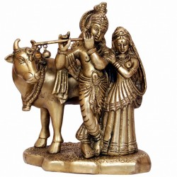 Lord Krishna and Radha standing with Cow